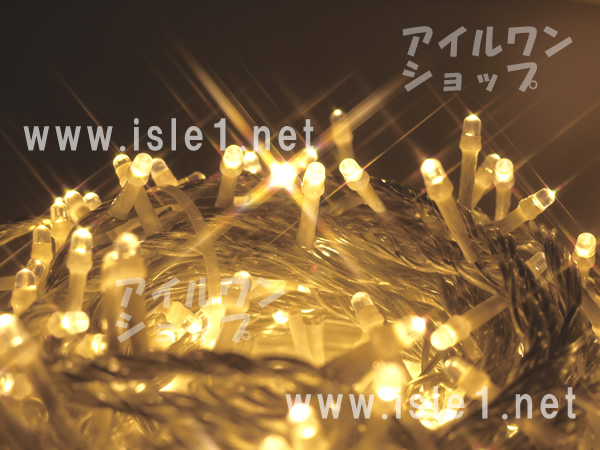 新 LEDイルミ透明色コード LED1000球(シャンパンゴールド)