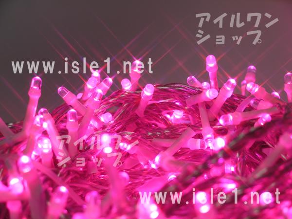 新 LEDイルミ透明色コード LED2000球(ピンク)