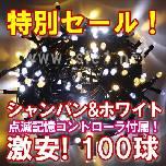 新LEDイルミネーション電飾100球(シャンパン&ホワイト)