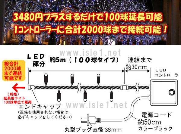 新LEDイルミネーション電飾 100球(ブルー)