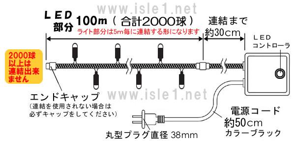 新LEDイルミネーション 2000球set(シャンパンゴールド)
