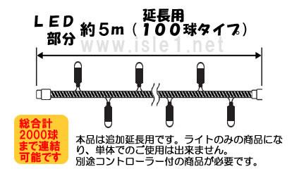 新 追加延長用LEDイルミネーション100球(ホワイト)