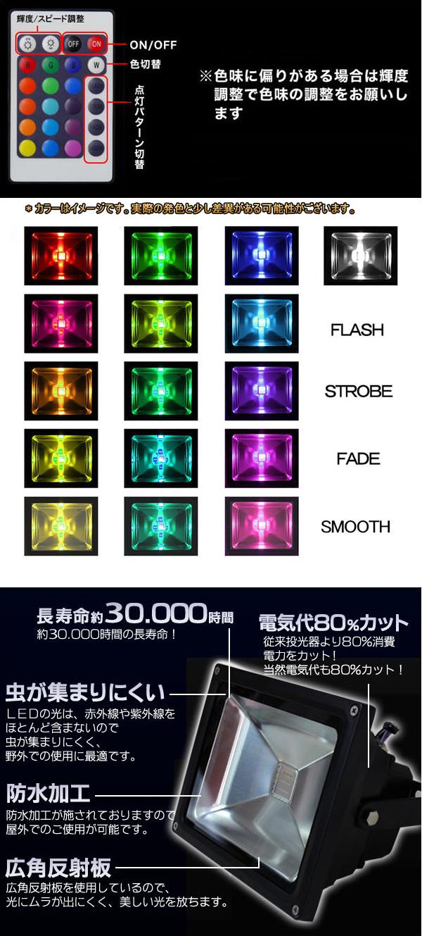 RGB LED照射ライト10W(16色)