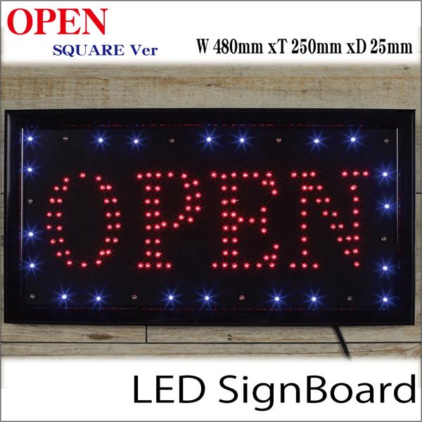 高彩度LED電飾看板 枠が点滅「OPEN」スクエア